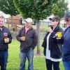 Morning tea at Skipton: Kev, Ross, Noellene and John