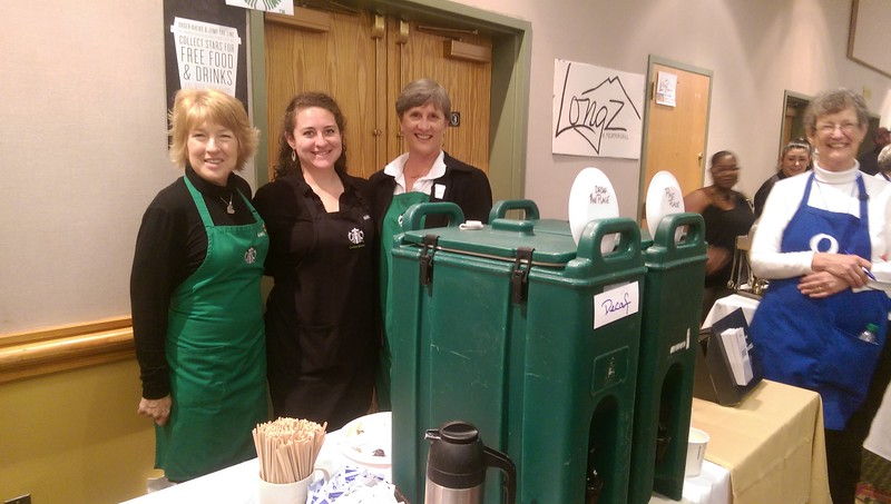 Starbucks employees were serving up fresh coffee and desserts at the event.