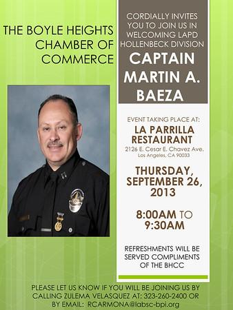 BHCC WELCOMES CAPT. MARTIN A. BAEZA @ LA PARRILLA RESTAURANT • 09.26.13
