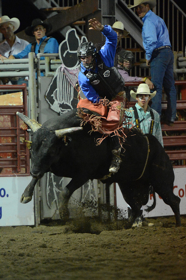 Walt Hester | Trail-Gazette<br /> Cooper Davis hangs on for a winning ride on Tuesday. It will take a great ride to unseat Davis as he scored 86 points on the ride.