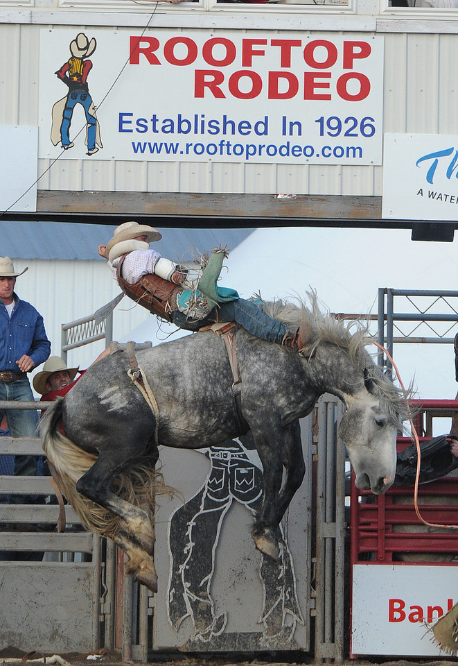 Walt Hester | Trail-Gazette<br /> George Gillespie IV hangs on while competing in the Bareback competition on Tuesday night. Gillespie got a reride on the night and slotted in second for the first night.