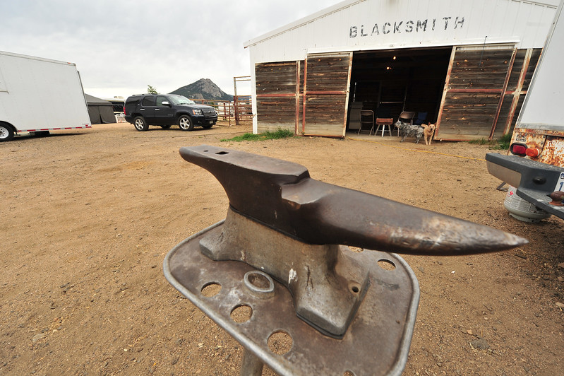 An anvil sits outside the blacksmith shop at the Stanley Fairgrounds on Wednesday. The tool is a reminder of the things technology can't make up or change too much.