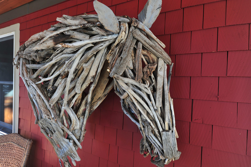 "A driftwood horse head shows the medium and organic style of Michener's work. ""If a piece curves one way, that's the way the neck will curve."""