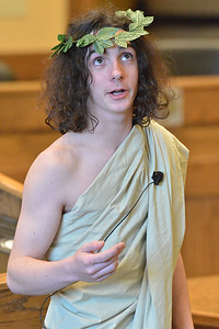 Liam Fogerty portrays an unhinged Emperor Nero at the Young Chautauquans event at town hall on Saturday. The younger Fogerty said he enjoyed portraying history's crazy people.