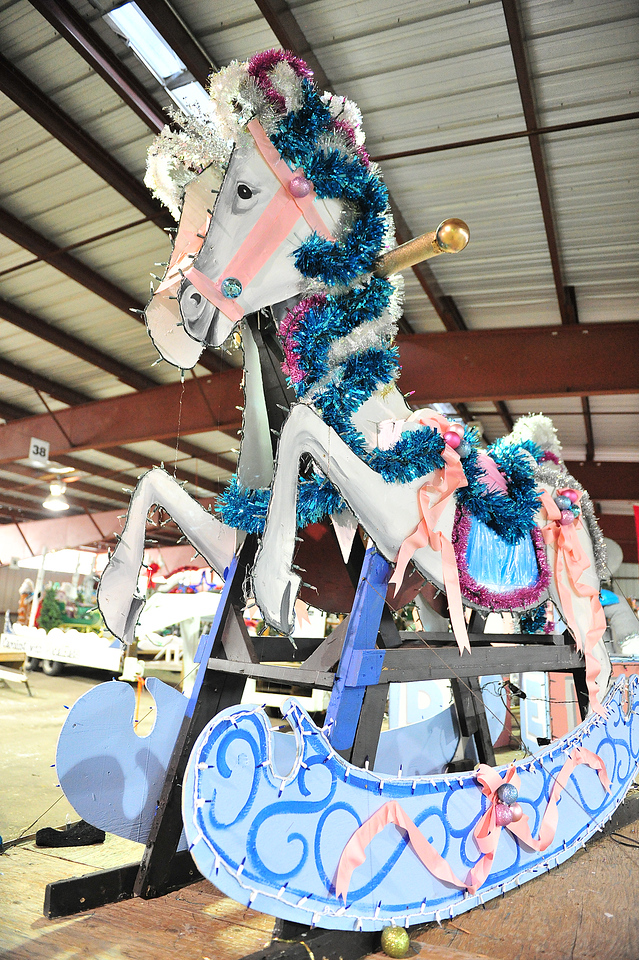 A giant rocking horse awaits a rider on Monday. The floats of the parade are an ever-changing collection of new designs and old favorites in the Catch the Glow Parade.