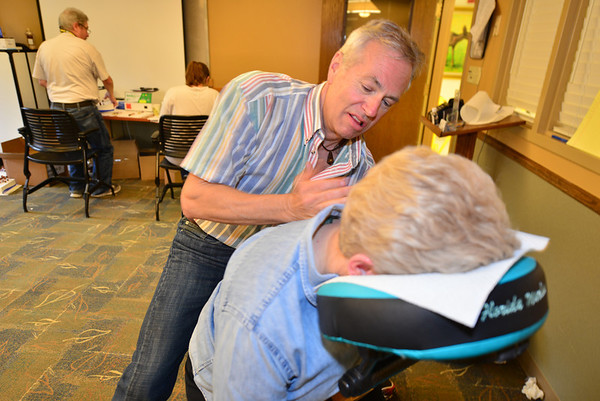 In case all of the testing became too stressful, massages were offered to visitprs to the health fair.
