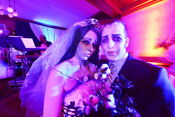 """29EPLPht Corpse Couple.jpg A couple inspired by the animated """"Corpse Bride"""" enjoy the evening at the Stanley Hotel. The films of Tim Burton inspired more than one costume for couples at the Shining Ball."""