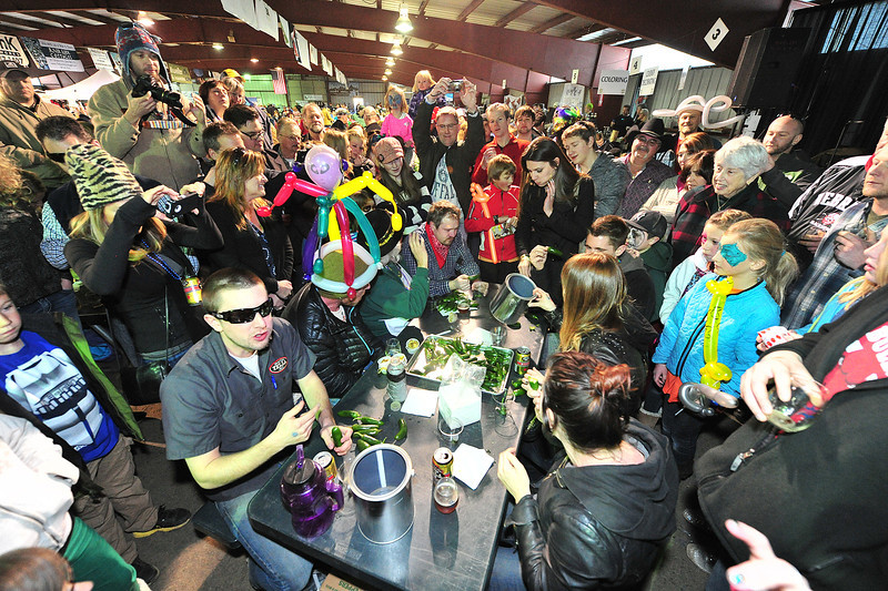 Crowds gather around pepper eaters on Sunday. The Jalapeno eating contest was one of many activities at the fourth annual Estes Park Winter Festival.