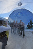 Revelers enjoy the giant snow globe at the fourth Estes Park Winter Festival on Saturday. Music, a giant slide, beer and chili were available for enjoyment at the festival.