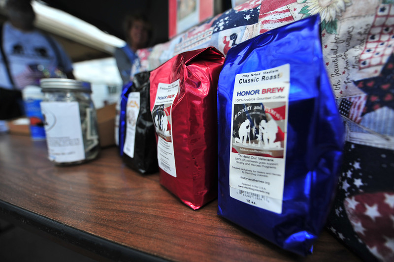 Honor brew awaits customers at Thursday's Farmers' Market. Sales from the custom label coffee goes to help veterans.