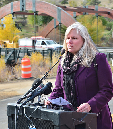 Peggy Campbell, president and CEO of Visit Estes Park, was among the speakers at the Nov. 4 ceremony near Lyons that marked the reopening of Hwy. 36 to Estes Park.