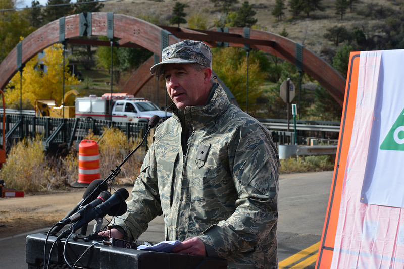 Brig. Gen. Peter Byrne of the Colorado Army National Guard, speaking at the reopening of Hwy. 36 Monday,  praised the cooperation between the many entities responsible for the quick repair work done to Hwy. 36 between Lyons and Estes Park.