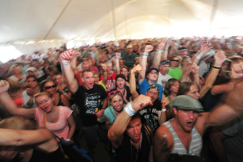 The crowd goes wild in the rock tent on Saturday.