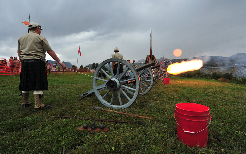The Celtic Armory fires the cannons at 4:00 on Sunday afternoon. The cannons are Nepoleonic three-quarter scale.