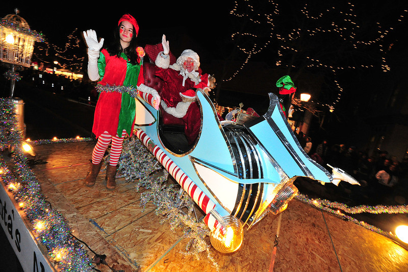 A pair of elves escort Mrs. Clause and her new ride down Elkhorn Avenue. Mrs. Clause is always especially nice, so the gift was not completely unexpected.