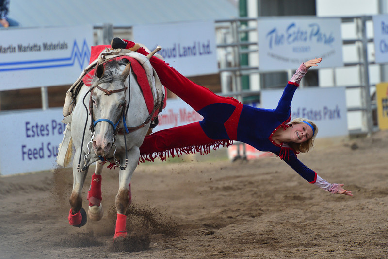 Sam Thompson, sister to Sara, displays the amazing strength required to perform with the Riata Ranch Cowboy Girls.