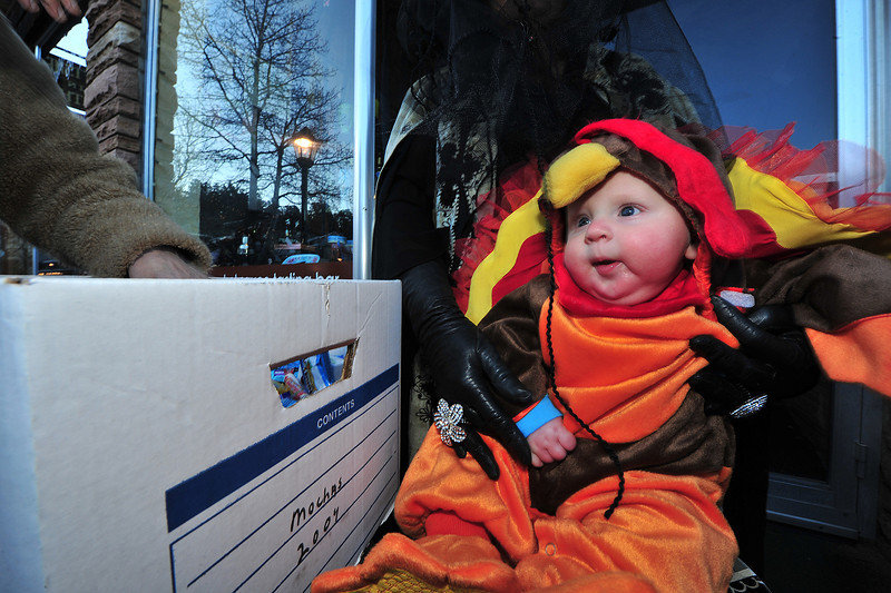 One of Estes Park's newest residents enjoys his first Halloween on Thursday.