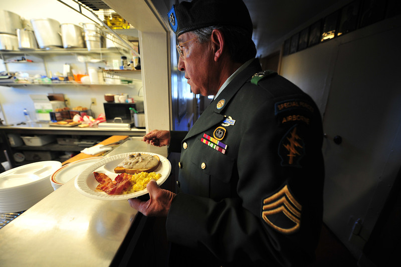 Retired Special Forces sargeant Ray Marez receives his breakfast at the American Legion on Monday. The Legion continued its tradition of the Veterans Day Breakfast, serving those who served.
