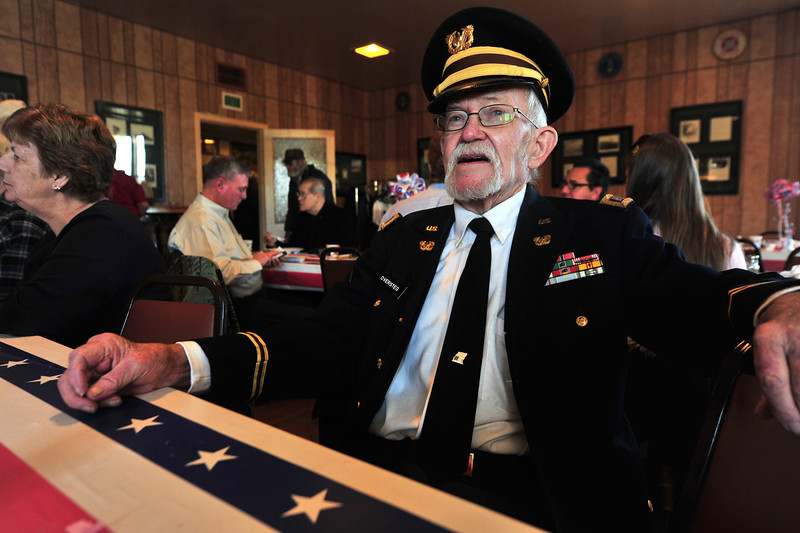 "American Legion Post 119 Commander ""Dink"" Oversteg relaxes after his Veterans Day Breakfast at the Legion hall on Monday. Oversteg has been involved with the post for many years."