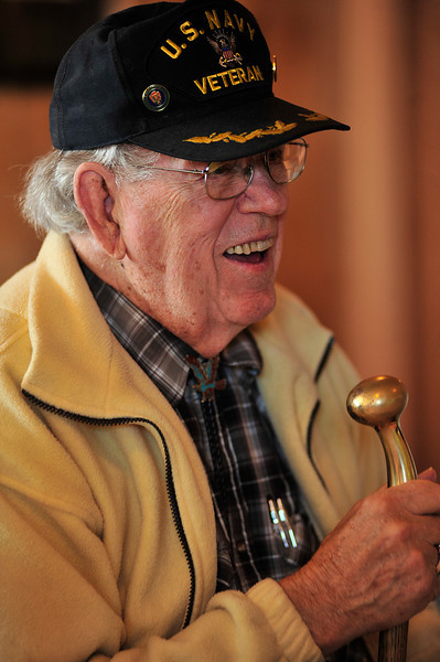 "Ken Buckert, US Navy 1950-1954, smiles with friends and family at the American Legion Post 119 on Monday. With the slow decline and passing of the ""Greatest Generation"", Cold Warriors are becaming the more senior group."
