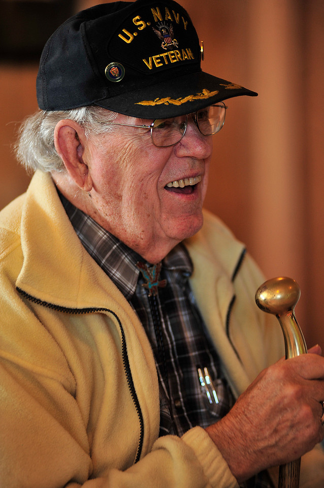 """Ken Buckert, US Navy 1950-1954, smiles with friends and family at the American Legion Post 119 on Monday. With the slow decline and passing of the """"Greatest Generation"""", Cold Warriors are becaming the more senior group."""