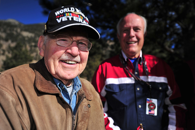 Bob Brunson smiles in the sunshine of Monday's Veterans Day Service. Brunson was part of the ever-shrinking contingency of World War II veterans.