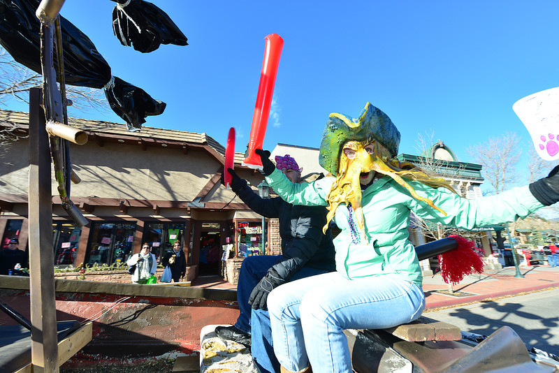 Arrrrgh! The junior float at Friday's Homecoming parade played on the pirate theme of this year's Homecoming activities.