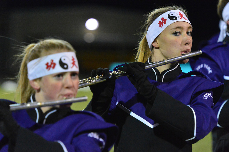 Jordon Brown performs with the Estes Park High School Marching Band on Friday.