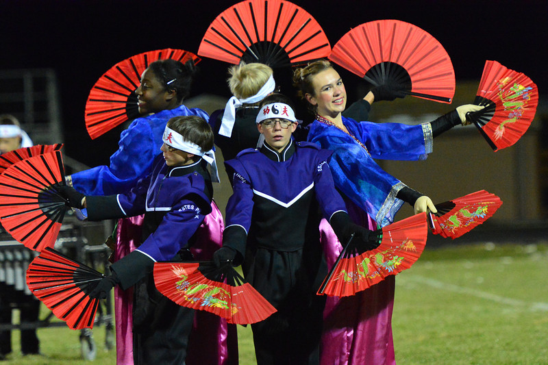 The Estes Park High School Marching Band puts a little Far Eastern flair in their Homecoming performance on Friday.
