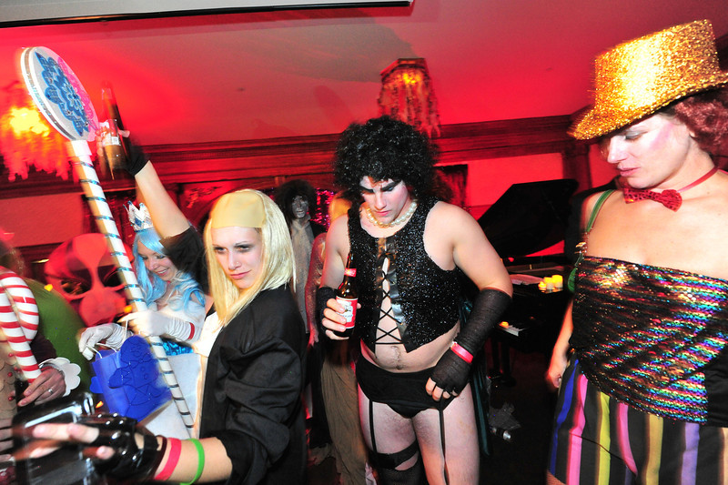 A group dressed as the cast of the Rocky Horror Picture Show dance on stage at the Stanley Hotel on Saturday night. The group costumes were creative and popular.