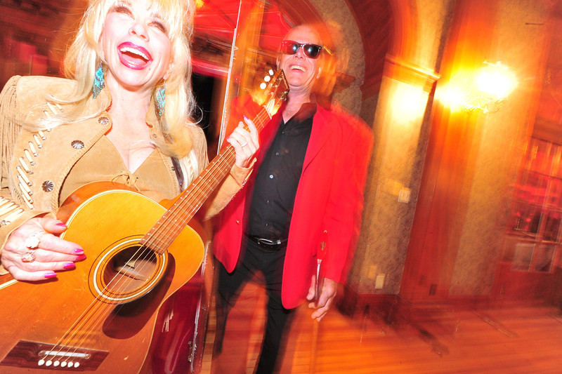 Trained professionals: Dolly Parton and Jack Nicolson impersonators show up for a good time at the Shining Ball at the Stanley Hotel on Saturday.