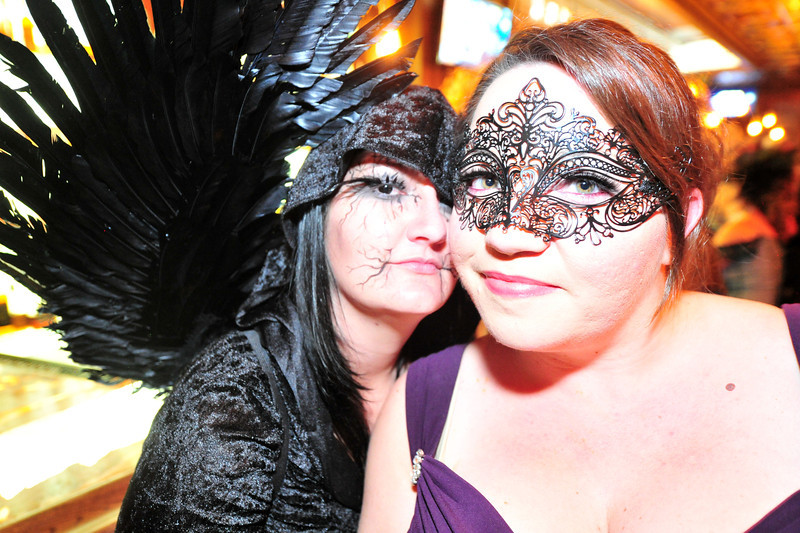 The masks and costumes spilled over into the Cascades Bar.