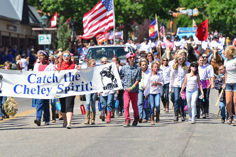 The single largest group in the parade. Cheley Camp had walkers, trucks and horseback riders along the parade route.