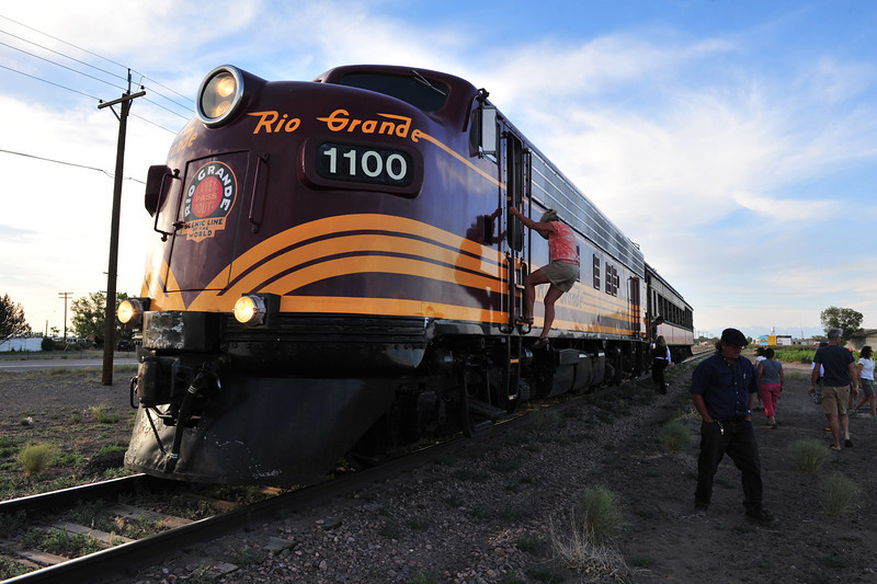 Alamosa pulled out all the stops for Ride the Rockies, and even added one. The San Luis-Rio Grande Scenic Railroad was used to shuttle riders vrom the community center where many were camping and where a carnival was assembled for the riders, into downtown Alamosa and back.