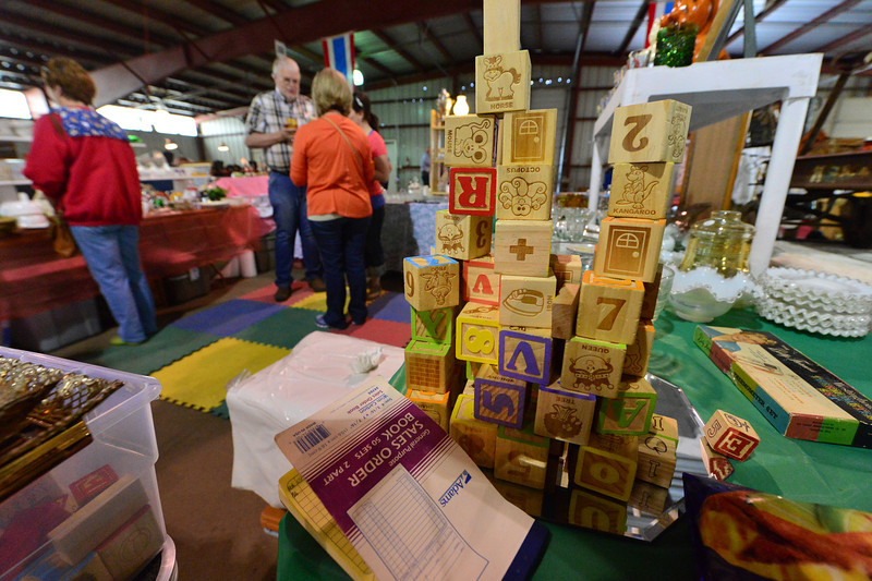 Old-school wooden blocks represent the antique toy collection at the Western Heritage Antique Show.