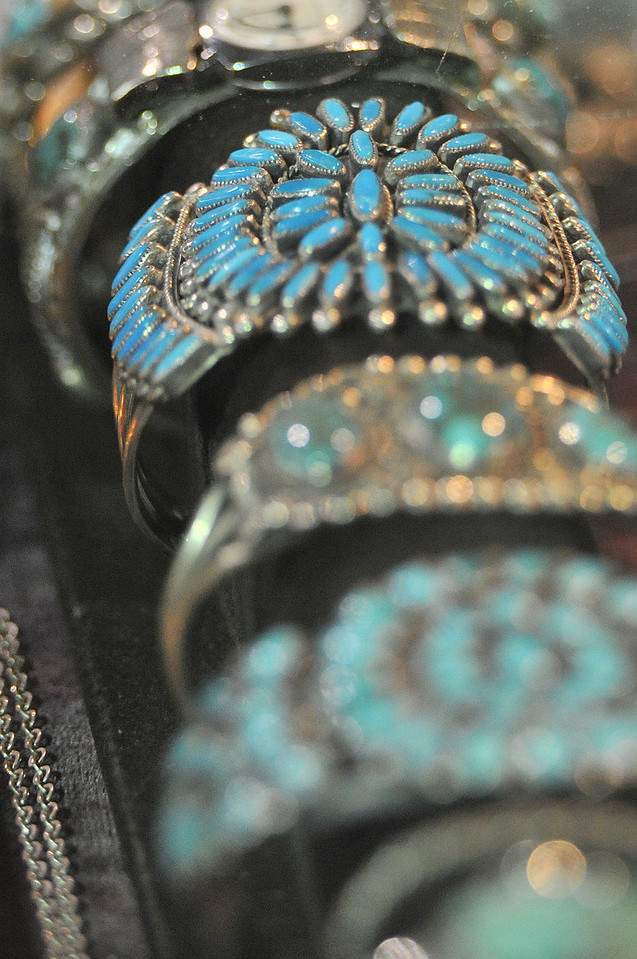 Turquoize and silver adorn a table at the Estes Park Western Heritage Antique Show on Saturday. The show helps support the Rooftop Rodeo.