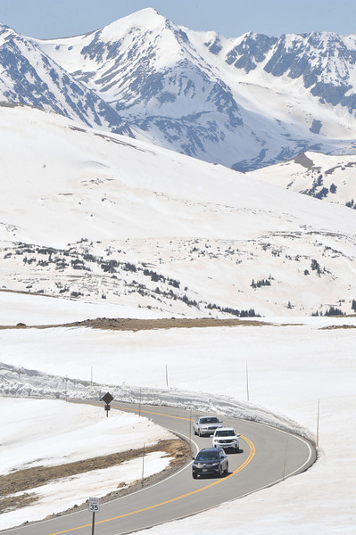 The Never Sumer Range looms above the reopened Trail Ridge Road on Friday.