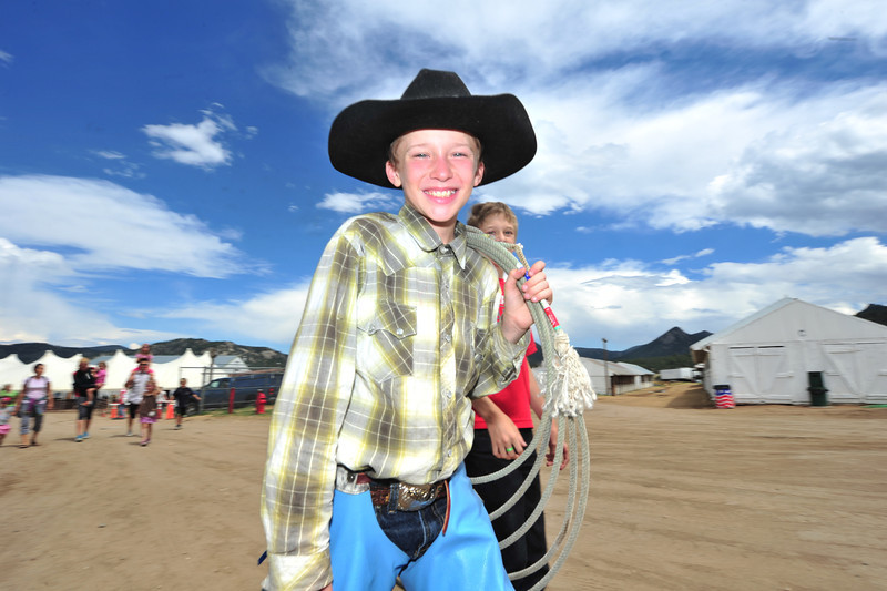 Blake Babbitt, 13, of Estes Park looks the part of a cowboy at the Heritage Festival on Saturday.