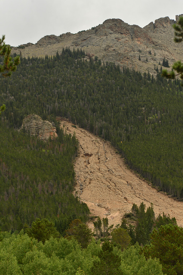 A mud slide leaves a long scar on the west side of Twin Sisters. The rains of last week created slides and road damage all over the Estes Park area and the Front Range.
