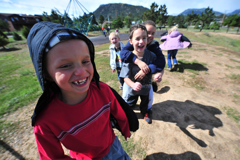 Young student enjoy recess at the Estes Park Elementary School on Monday. The return to school is a welcome return to the normal.