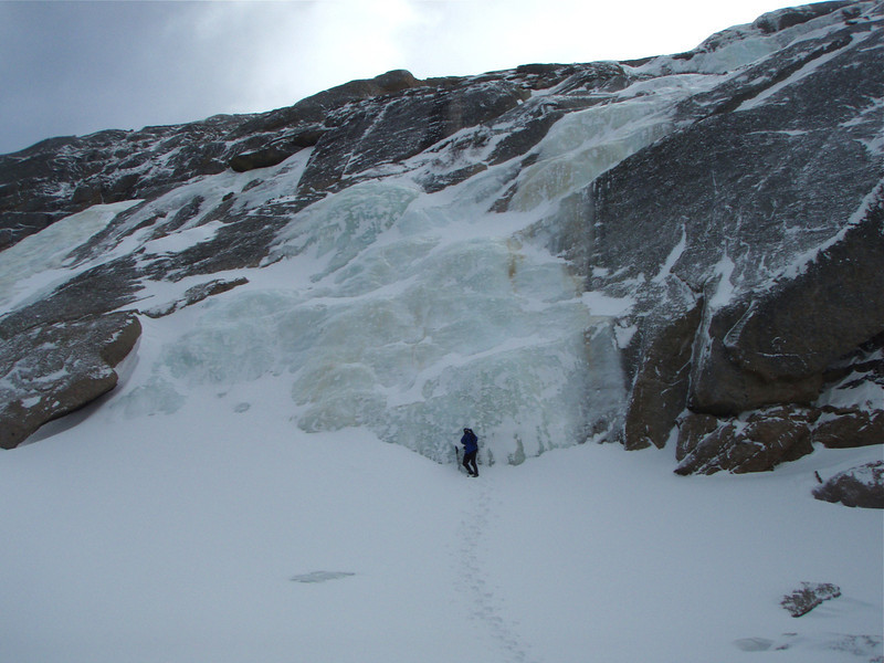 An ice fall above Black Lake in the upper reaches of Glacier Gorge in Rocky Mountain National Park.