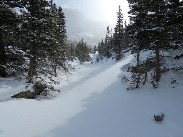 Winter Trail Glacier Gorge in Rocky Mountain National Park.