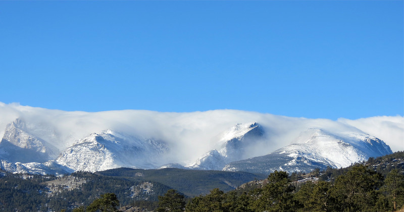 Morning clouds over the Continental Divide west of Estes Park.