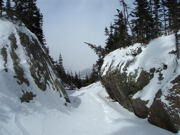The winter trail to Black Lake in Rocky Mountain National Park.