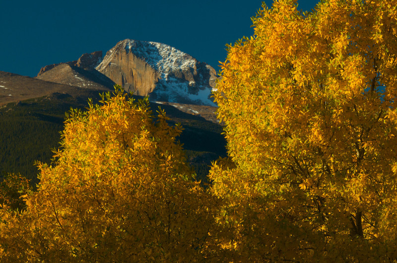 The peak through autumn aspens near the park's back country office.