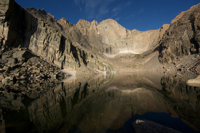 The Diamond reflection on Chasm Lake.