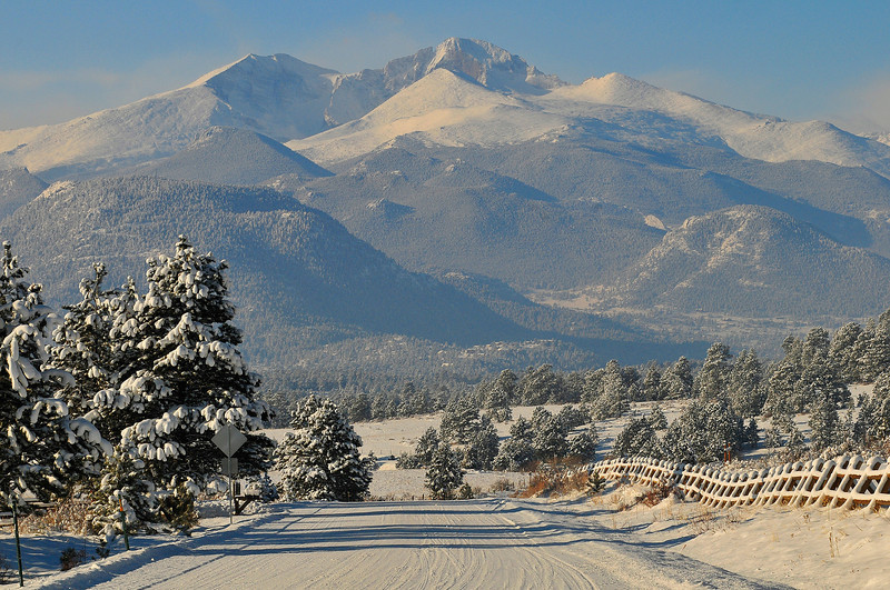 Snowing drive below Longs Peak.