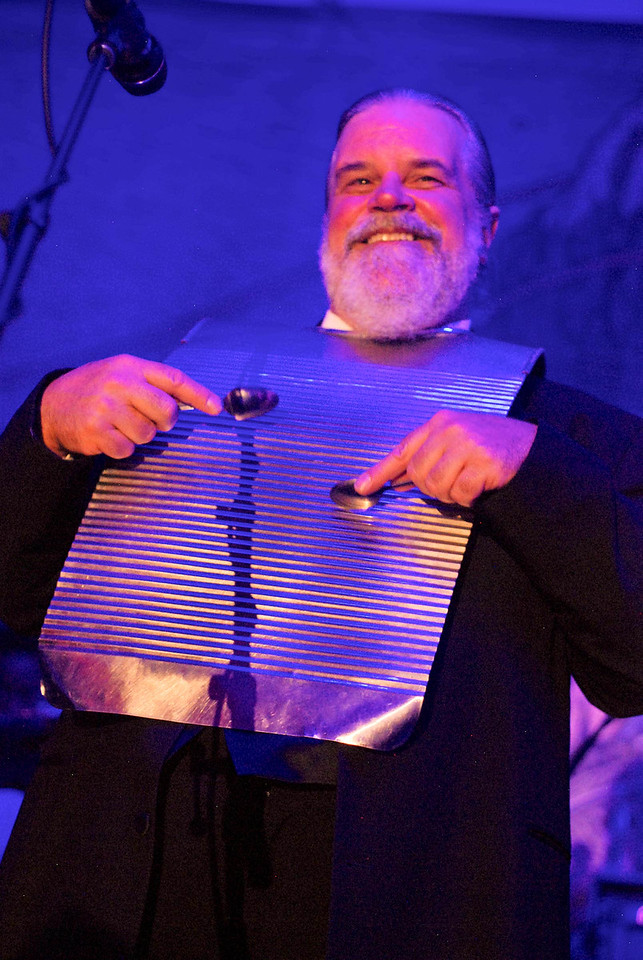Vince Herman plays the washboard for the Leftover Salmon Stanley Hotel Concert Series March 13-15th, 2015