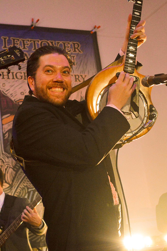 Andy Thorn making his best The Shinning's Jack Torrance face while playing the banjo for Leftover Salmon Stanley Hotel Concert Series March 13-15th, 2015.