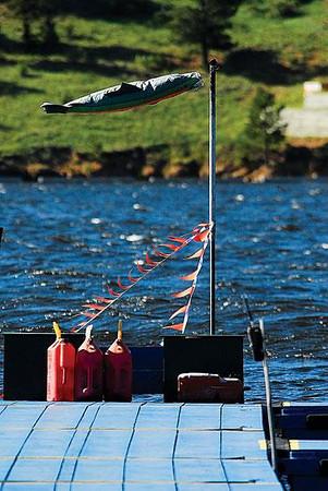 A stiff breeze fills a wind sock at the Lake Estes Marina on Saturday. Photo by Walt Hester.